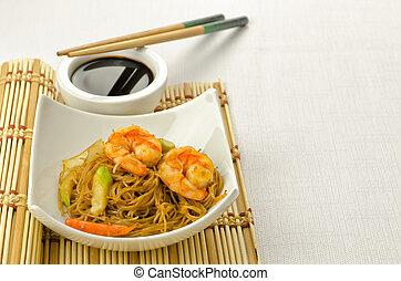tagliatelle, delizioso, cinese, gamberi