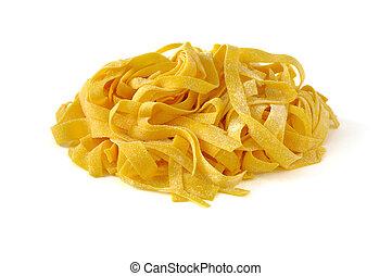 Tagliatelle, italian egg pasta, isolated on white