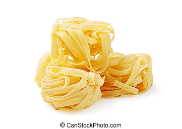 Tagliatelle pasta, isolated on a white background