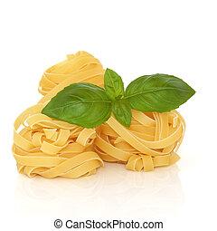 Tagliatelle Pasta - Tagliatelle pasta with basil herb leaf ...