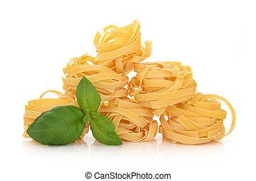 Tagliatelle Pasta - Tagliatelli pasta with basil herb leaf ...