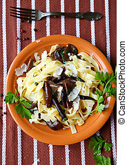 Tagliatelle pasta with fried mushrooms, top view