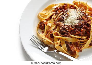 tagliatelle with bolognese sauce - italian pasta cuisine