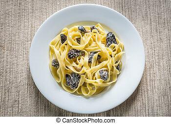 Tagliatelle with morel mushrooms