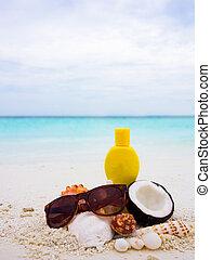 tagliato, noce di cocco, spiaggia