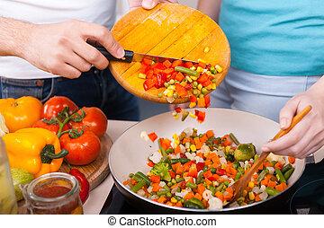 tagliato, vegetables., primo piano, di, coppia, preparazione alimento, insieme