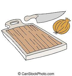 tagliere, cipolla, coltello