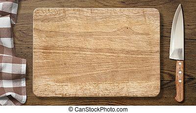 tagliere, e, coltello, su, vecchio, legno, tavola, con, picnic, tovaglia
