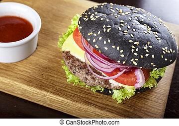tagliere, hamburger, nero