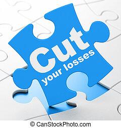 taglio, affari, puzzle, perdite, fondo, tuo, concept: