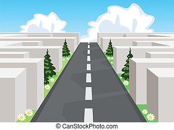 taglio, affari, sopra, attraverso, strada, confusione, life., labirinto, riuscendo