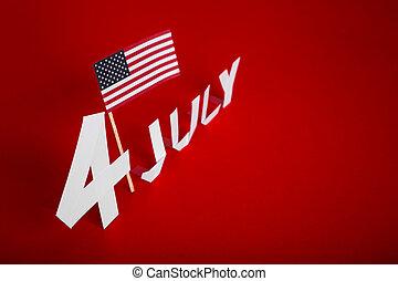 taglio, americano, 4, bandiera, carta, luglio, vero, giorno...