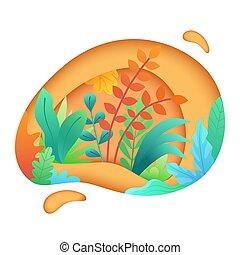 taglio, arte, foglie, shapes., foglie, carta, papercut, fondo, floreale, plants., astratto, scheda