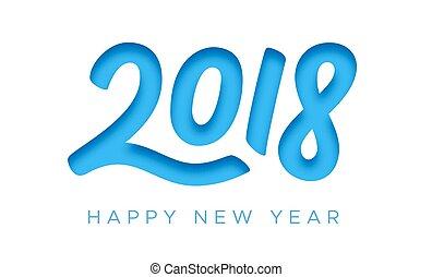 taglio, augurio, carta, 2018, anno, nuovo, scheda, felice