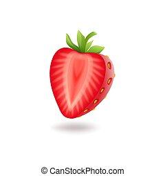taglio, berrie, illustration., realistico, dolce, isolato, foglie, fragola, vettore, sfondo verde, mezzo, fresco, bianco rosso