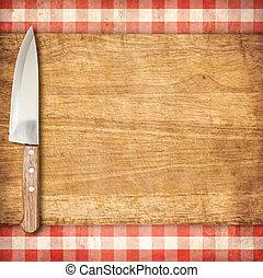 taglio, breadboard, e, coltello, sopra, grunge rosso, percalle, tovaglia, fondo