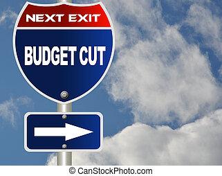 taglio, budget, segno strada