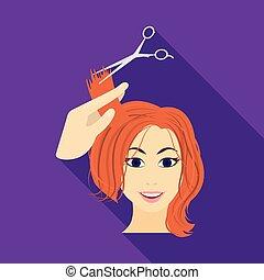 taglio capelli, con, scissors., womens, taglio capelli, singolo, icona, in, appartamento, stile, vettore, simbolo, illustrazione riserva, web.