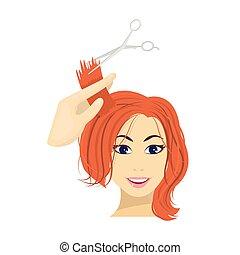 taglio capelli, con, scissors., womens, taglio capelli, singolo, icona, in, cartone animato, stile, vettore, simbolo, illustrazione riserva, web.