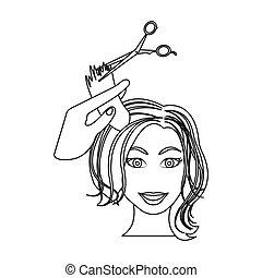taglio capelli, con, scissors., womens, taglio capelli, singolo, icona, in, contorno, stile, bitmap, simbolo, illustrazione riserva, web.