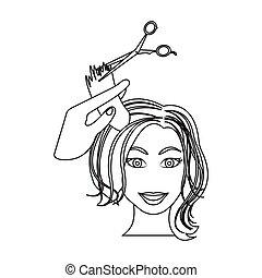 taglio capelli, con, scissors., womens, taglio capelli, singolo, icona, in, contorno, stile, vettore, simbolo, illustrazione riserva, web.