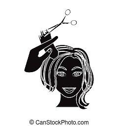 taglio capelli, con, scissors., womens, taglio capelli, singolo, icona, in, nero, stile, vettore, simbolo, illustrazione riserva, web.