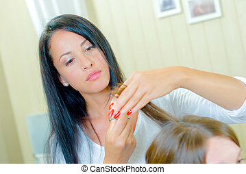 taglio capelli, mezzo, donna