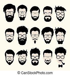 taglio capelli, stile, set, barba, occhiali, vettore, hipster, baffi