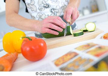 taglio, cetriolo, asse, cucina, ristorante
