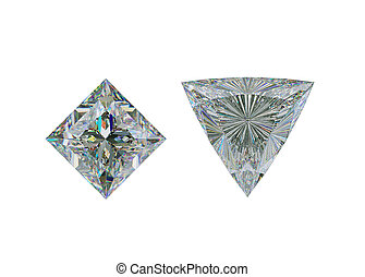 taglio, cima, trillion, diamante, bianco, principessa, vista