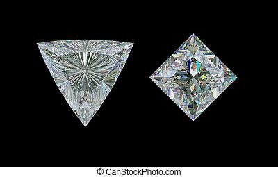 taglio, cima, trillion, diamante, nero, principessa, vista