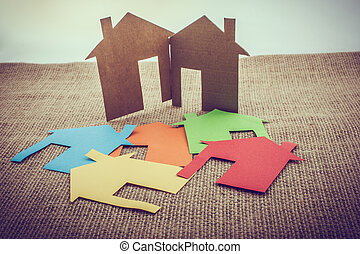 taglio, colorito, casa, forma, carta, fuori