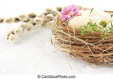 taglio, colpo, foto, nido, fiori bianchi, uova pasqua