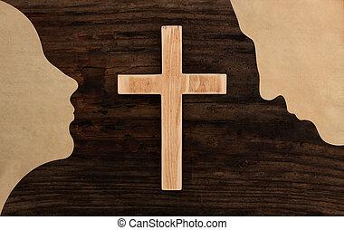 taglio, cristiano, pregare, coppia, croce, carta, legno, concetto, silhouette
