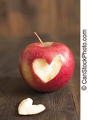 taglio, cuore, mela, esso