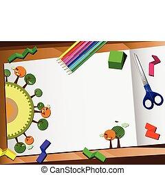 taglio, desktop, fondo., carta, ecologia, 3d