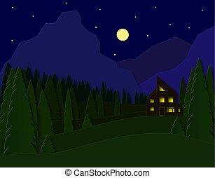 taglio, fields., casa, viaggiare, 3d, carta, vettore, pubblicità, abete rosso, design., montagne., recreation., paesaggio, foresta