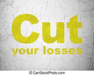 taglio, finanza, parete, perdite, fondo, tuo, concept: