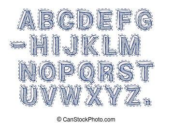 taglio, font, lettere, fuori