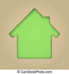 taglio, illustration., casa, cardboard., vettore, fuori