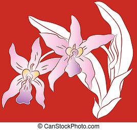 taglio, illustrazione, foglie, carta, verde, fiore, ramo, orchidea