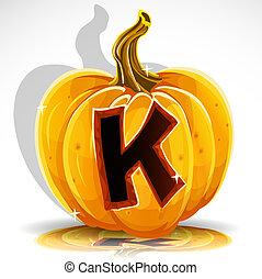 taglio, k, halloween, pumpkin., font, fuori