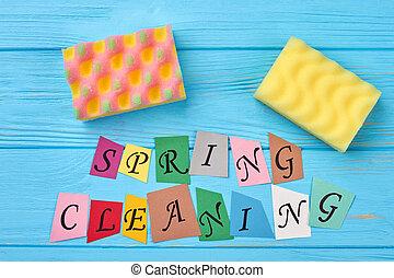 taglio, lettere, colorito, primavera, cleaning., carta