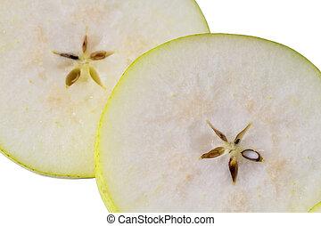 taglio, macro, pera, semi, fondo, fresco, slice., bello, vista