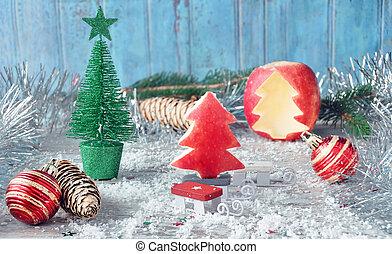 taglio, mela, legno, albero, fuoco, natale, apple., selettivo, anno, nuovo, surface., rosso, card.
