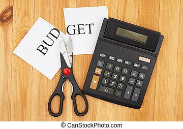 taglio, mensile, taglio, tuo, budget, calcolatore, parola, forbici