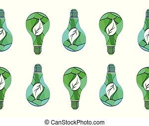 taglio, modello, foglie, seamless, fondo., ecologico, carta, lampadina, bianco, 3d