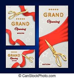 taglio nastro, con, forbici, grande apertura, cerimonia, vettore, invito, cartelle, bandiere