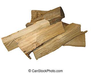 taglio, registrare, fuoco, sopra, isolato, legno, bianco