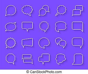taglio, set, icone, semplice, carta, vettore, bolla discorso
